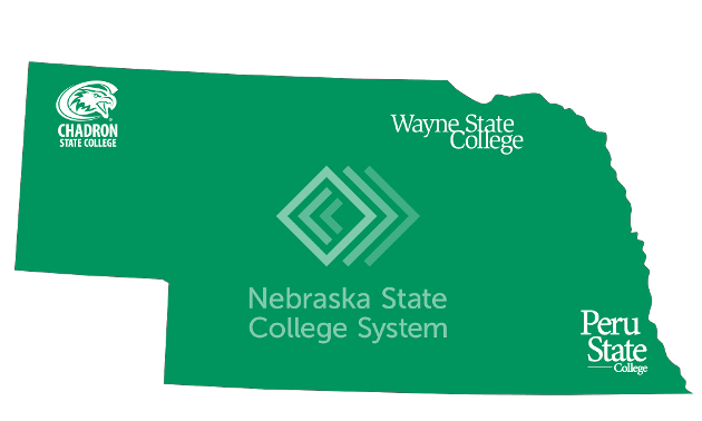 Nebraska map with state colleges